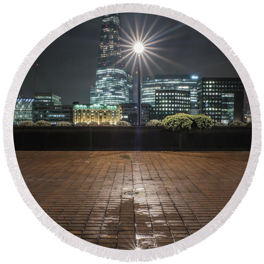 London Round Beach Towel featuring the photograph Bright Light by Andy Denial