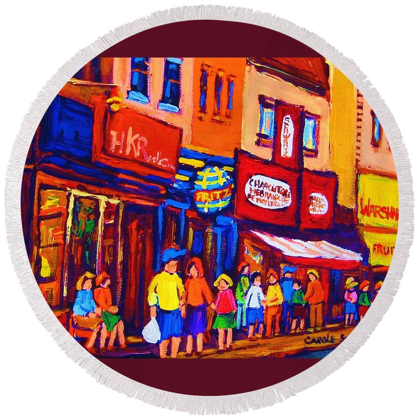 Schwartz's Hebrew Deli Round Beach Towel featuring the painting Bright Lights On The Main by Carole Spandau