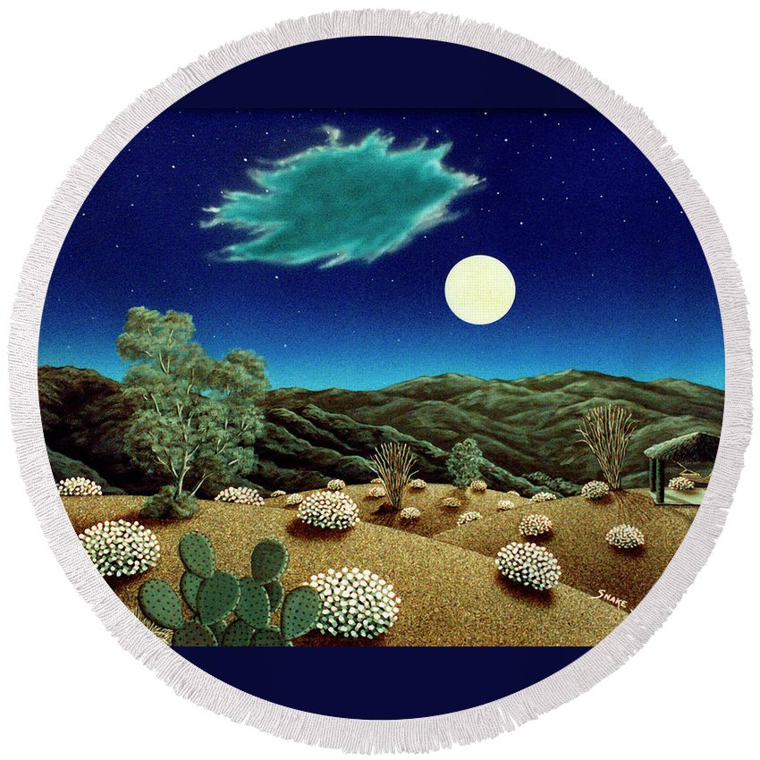 Acrylic Round Beach Towel featuring the painting Bright Night by Snake Jagger