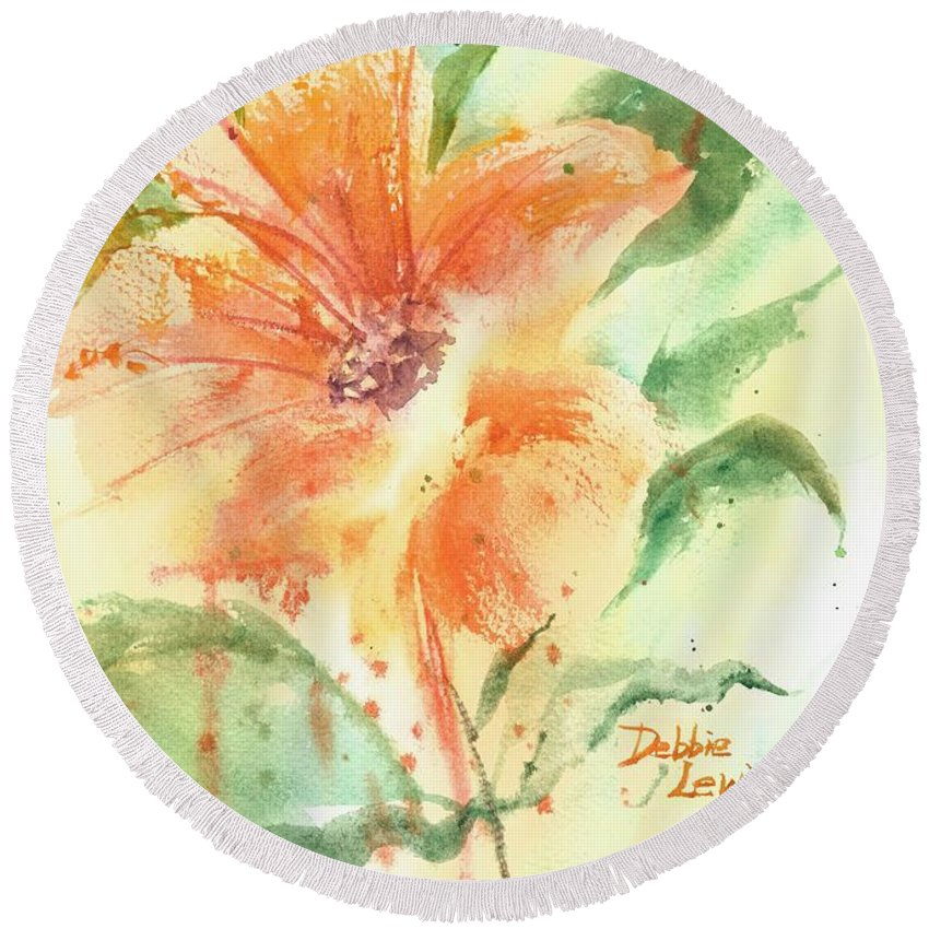 Orange Flower With Yellow Background Round Beach Towel featuring the painting Bright Orange Flower by Debbie Lewis