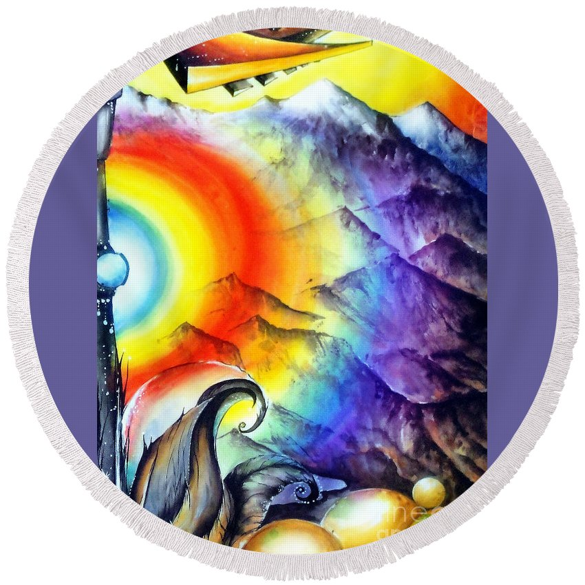Mountains Round Beach Towel featuring the painting Bright Rainbow And Mountains. Cyborg's Land by Sofia Metal Queen