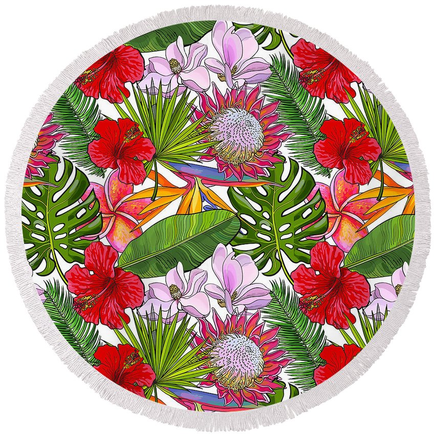 Nature Round Beach Towel featuring the painting Brightly Colored Tropical Flowers And Ferns by Elaine Plesser