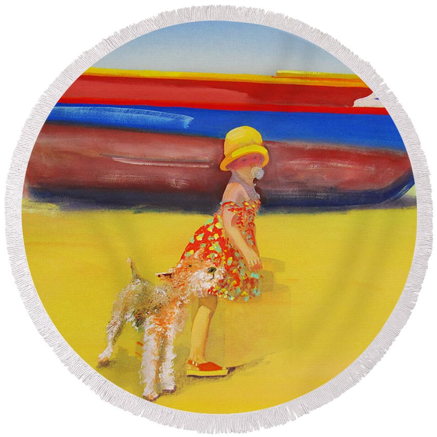 Wire Haired Fox Terrier Round Beach Towel featuring the painting Brightly Painted Wooden Boats With Terrier And Friend by Charles Stuart