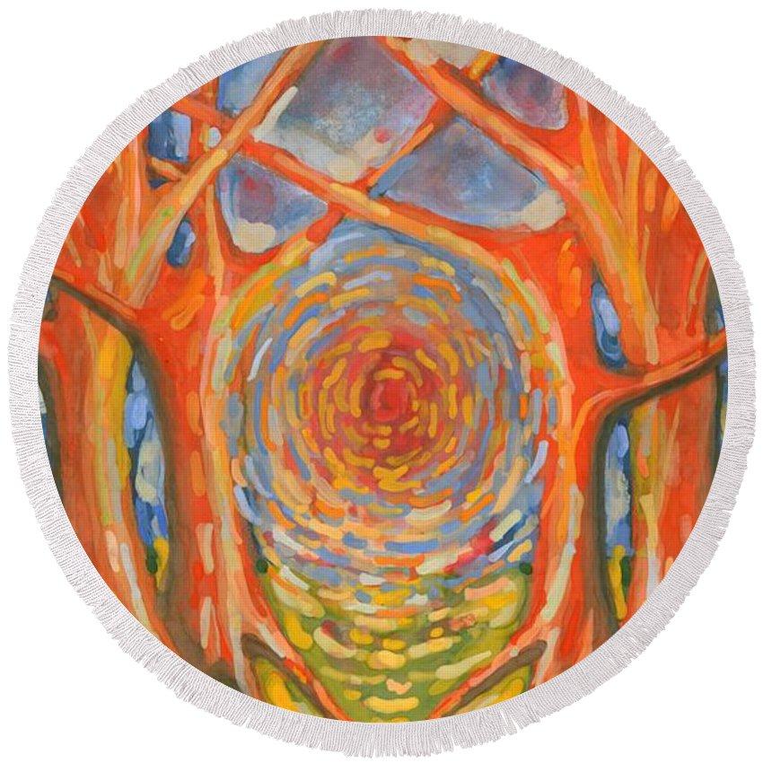 Colour Round Beach Towel featuring the painting Brightness by Wojtek Kowalski