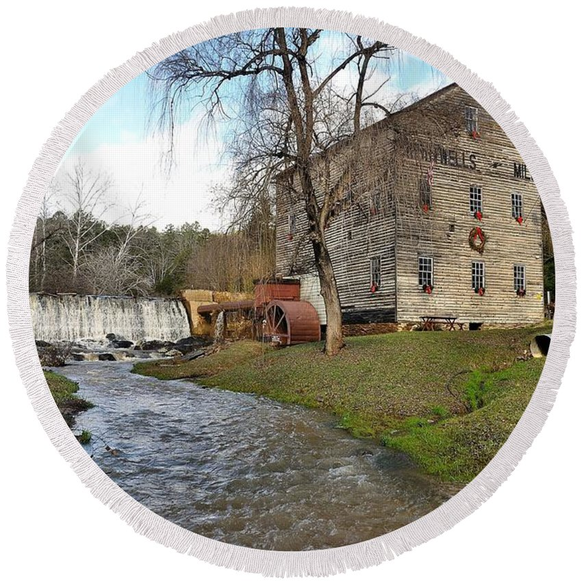 Brightwell's Mill Round Beach Towel featuring the photograph Brightwell's Mill 3 by Todd Hostetter