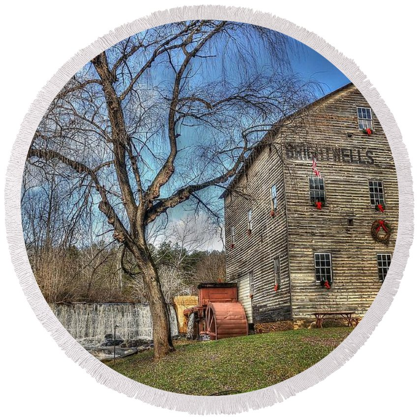 Brightwell's Mill Round Beach Towel featuring the photograph Brightwell's Mill by Todd Hostetter