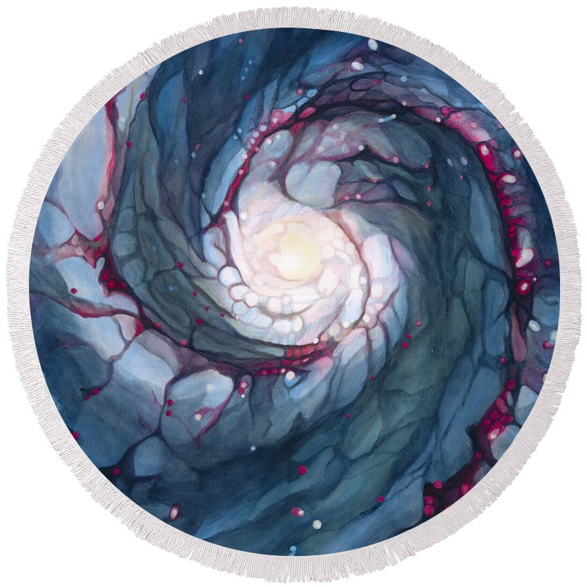 Brigid Round Beach Towel featuring the painting Brigid The Goddess Of Fire Poetry And Healing by Do'an Prajna - Antony Galbraith