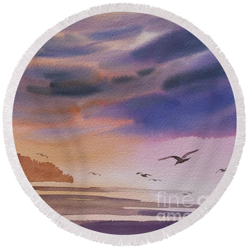 Landscape Fine Art Print Round Beach Towel featuring the painting Brilliant Sunset by James Williamson