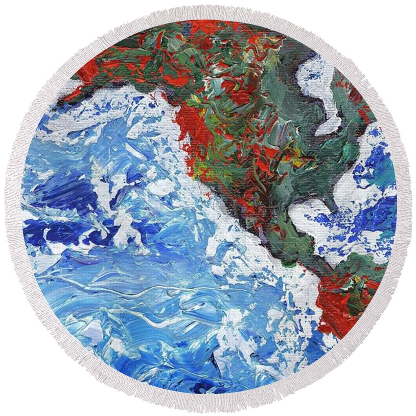 Earth Round Beach Towel featuring the painting Brilliant World - Left Panel by Linda Mears