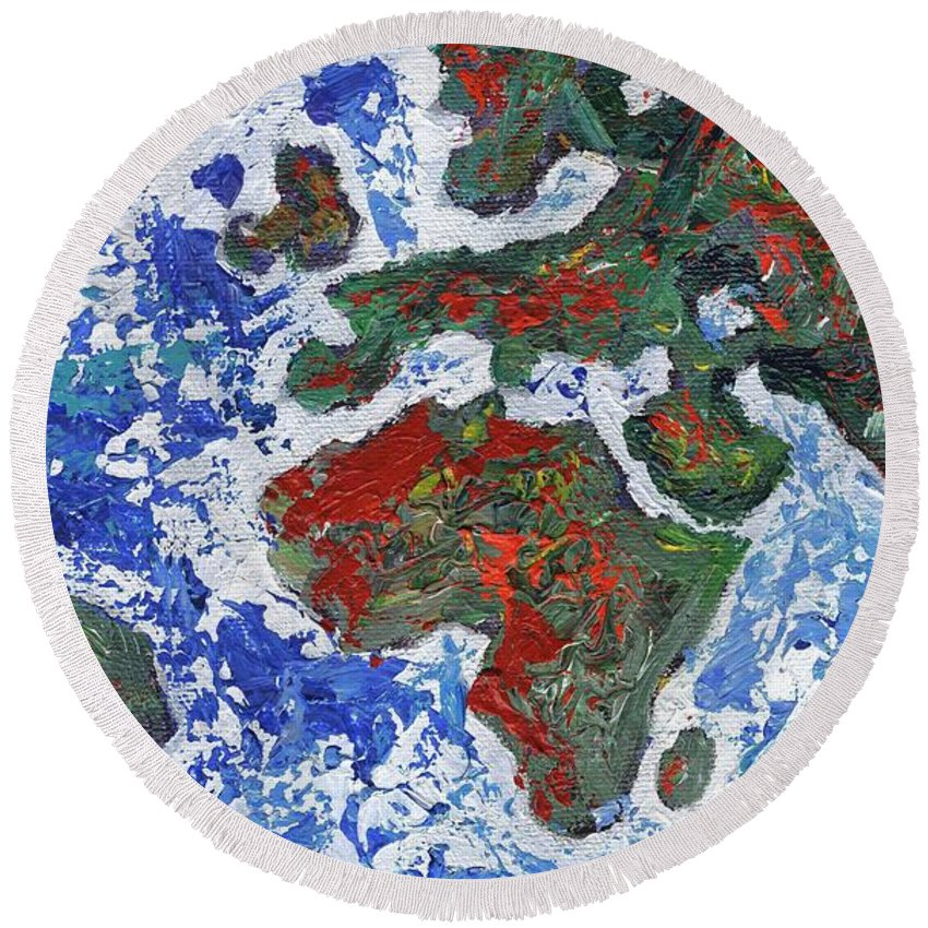 Earth Round Beach Towel featuring the painting Brilliant World - Middle Panel by Linda Mears