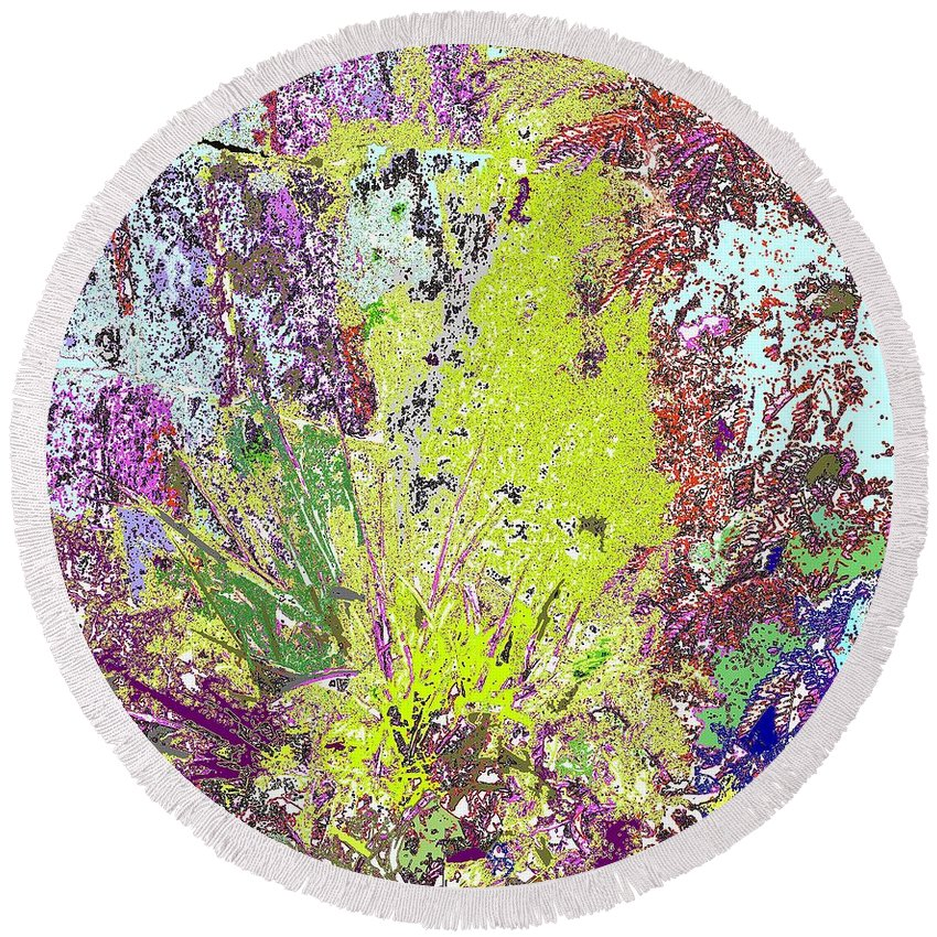 Abstract Round Beach Towel featuring the photograph Brimstone Fantasy by Ian MacDonald