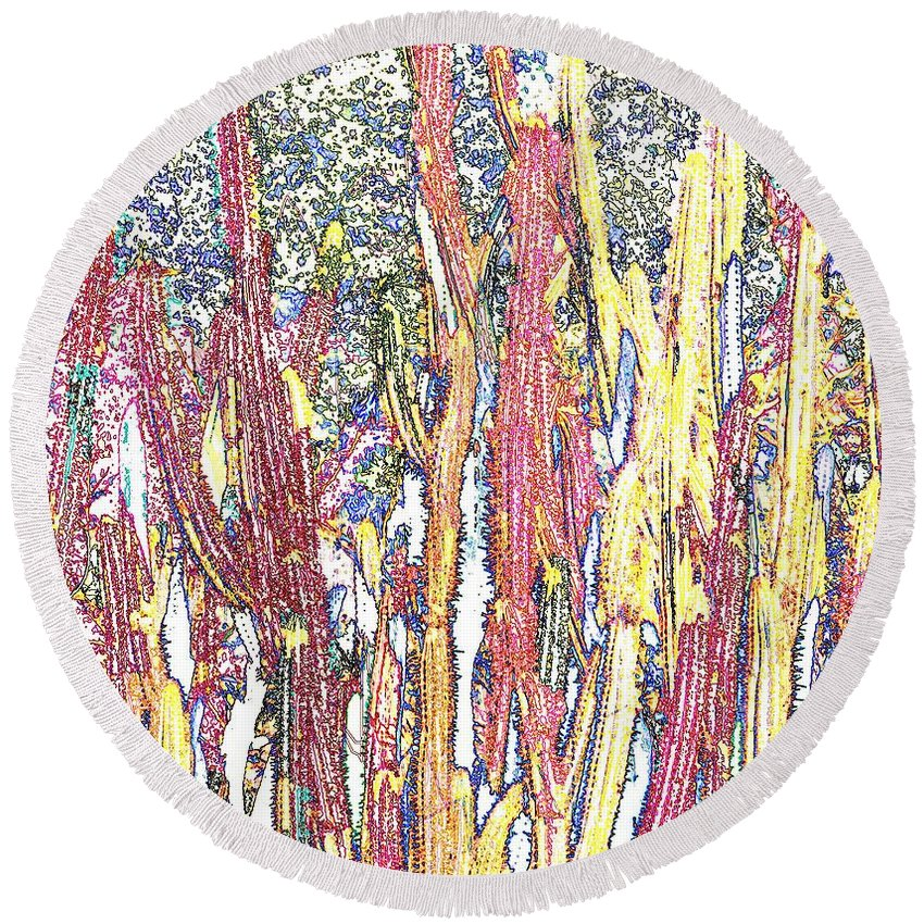 Forest Round Beach Towel featuring the photograph Brimstone Forest by Ian MacDonald