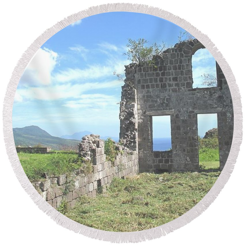 St Kitts Round Beach Towel featuring the photograph Brimstone Ruins by Ian MacDonald