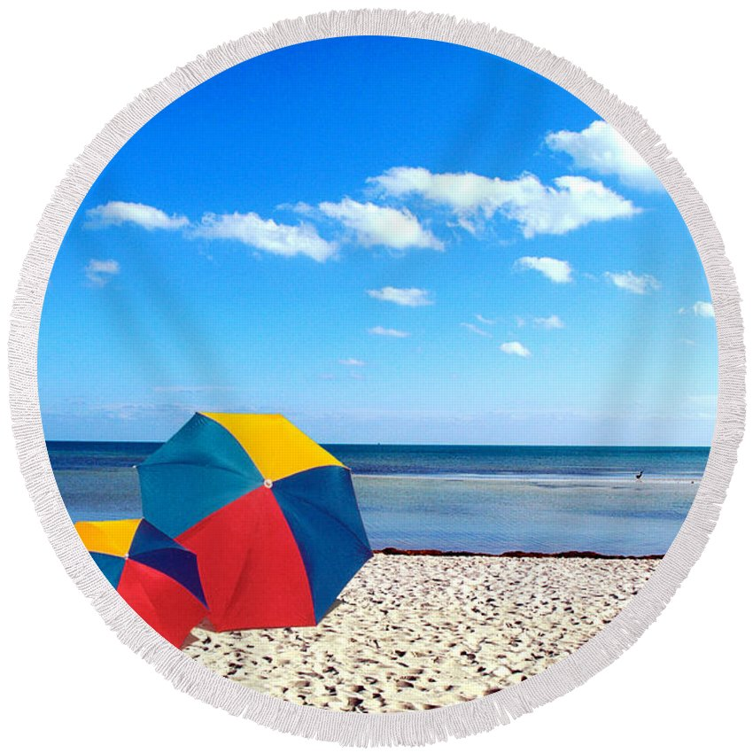 Unbrellas Round Beach Towel featuring the photograph Bring The Umbrella With You by Susanne Van Hulst