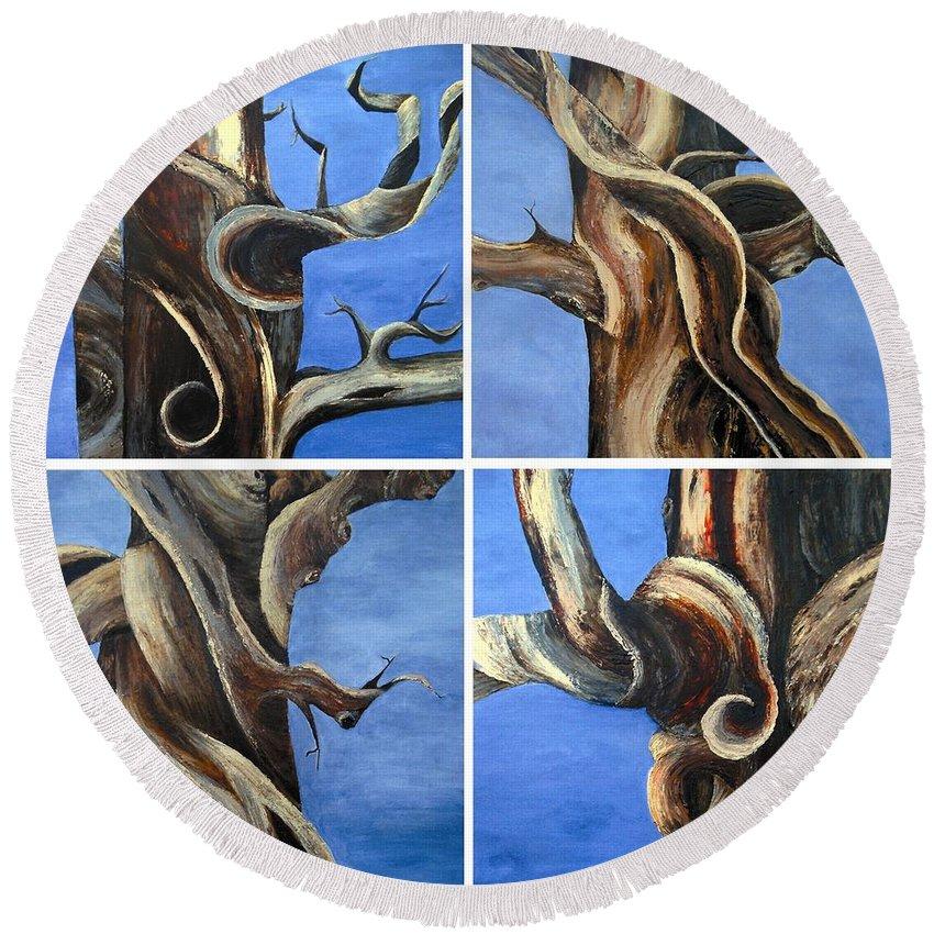 Bristlecone Trees Round Beach Towel featuring the painting Bristlecone Tree Set by Wanda Pepin