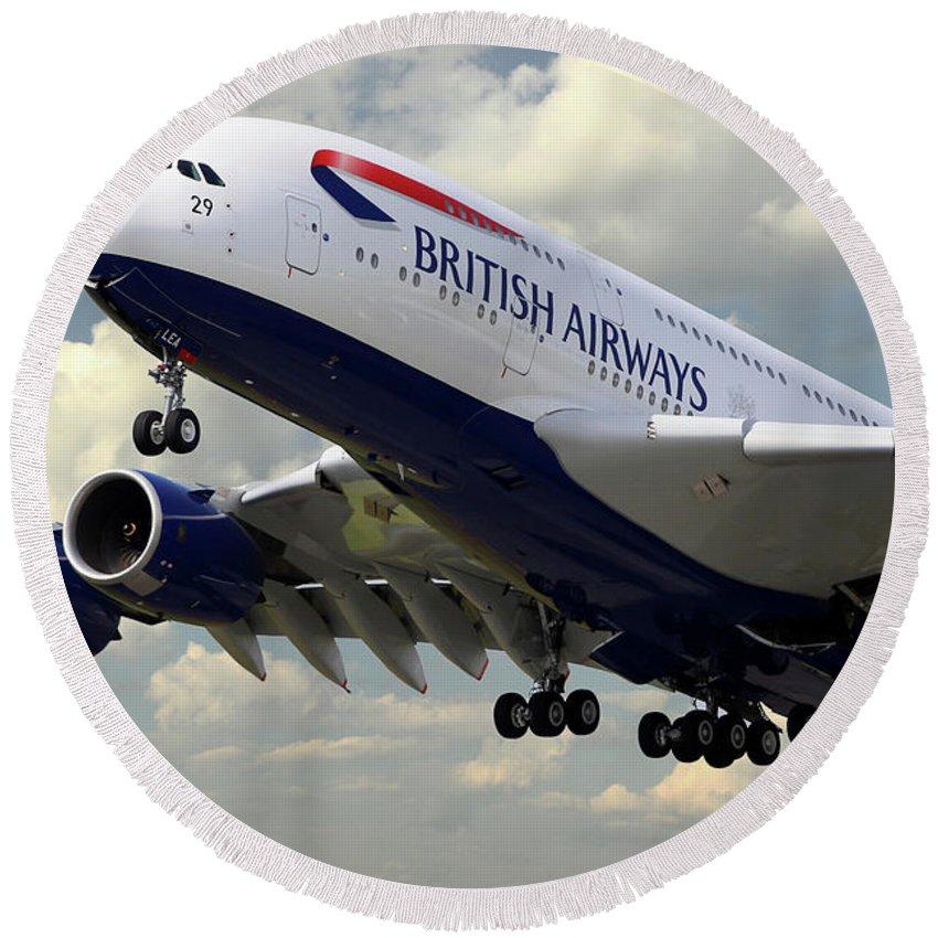 Airbus Round Beach Towel featuring the digital art British Airways Airbus A380 by J Biggadike