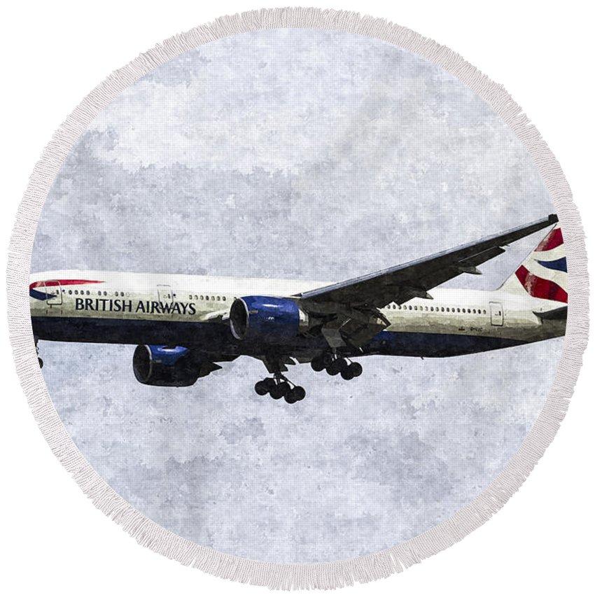 British Airways Round Beach Towel featuring the photograph British Airways Boeing 777 Art by David Pyatt