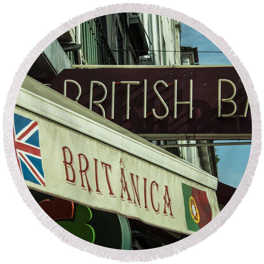 British Round Beach Towel featuring the photograph British Bar Britanica by Rob Hawkins