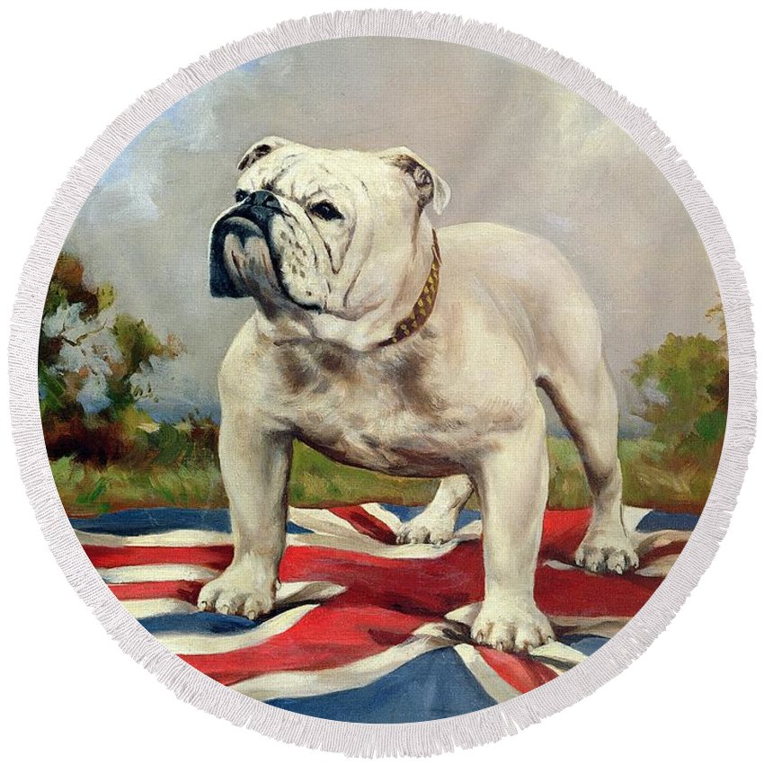 Grb; Union Jack; Dog Round Beach Towel featuring the painting British Bulldog by English School