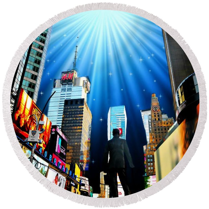 New York City Round Beach Towel featuring the photograph Broadway Rhythm by Diana Angstadt