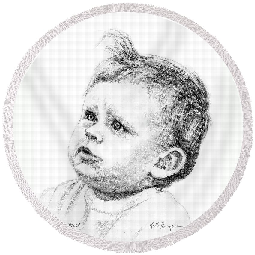 Portrait Round Beach Towel featuring the drawing Brodi by Keith Burgess