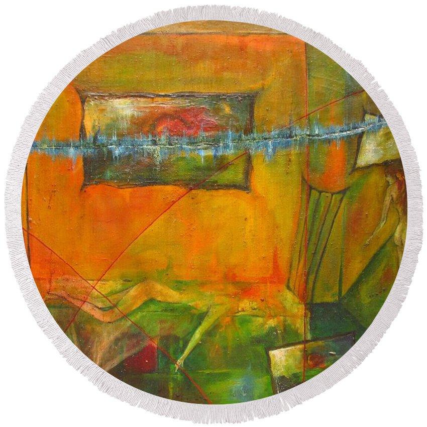 Colour Round Beach Towel featuring the painting Broken Dream by Wojtek Kowalski