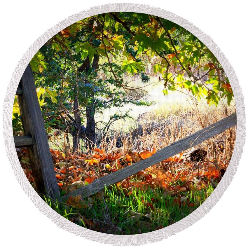 Autumn Round Beach Towel featuring the photograph Broken Fence In Sycamore Park by Carol Groenen