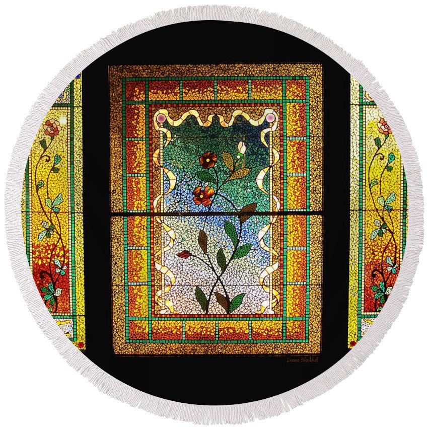 Stained Glass Round Beach Towel featuring the photograph Broken Flowers by Donna Blackhall