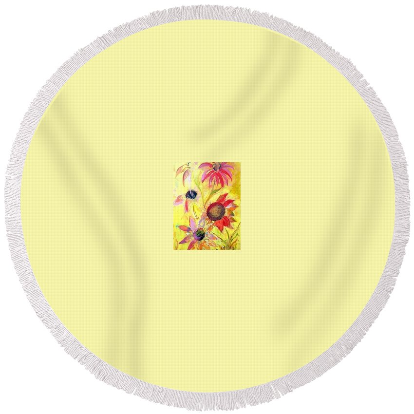 Floral Round Beach Towel featuring the painting Broken Flowers by Kathy Othon