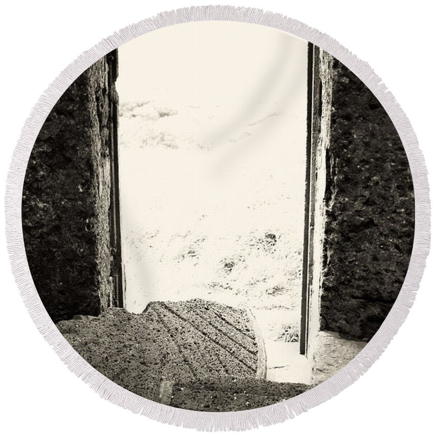 Azores Round Beach Towel featuring the photograph Broken Millstone by Gaspar Avila