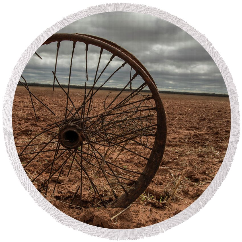 Wheel Round Beach Towel featuring the photograph Broken Spokes by Kevin McCollum
