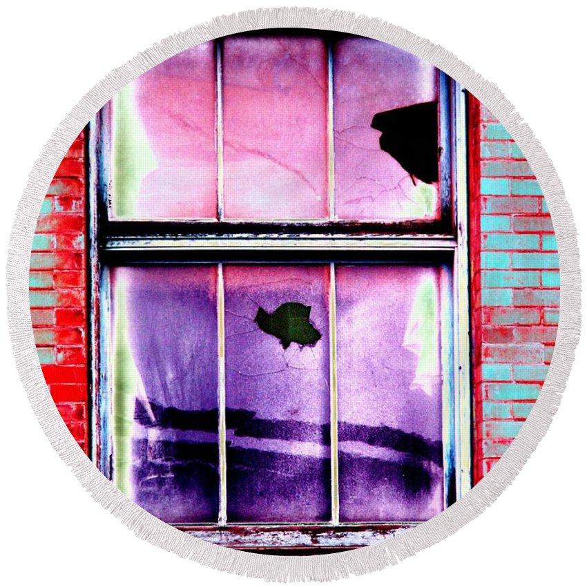 Window Round Beach Towel featuring the photograph Broken Window by Tim Allen