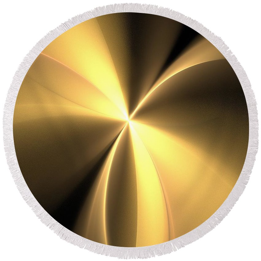 Apophysis Round Beach Towel featuring the digital art Bronze Gold Wings by Kim Sy Ok