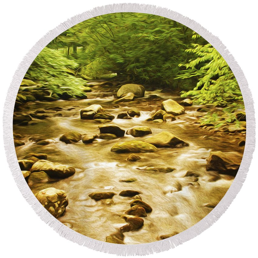 Abrams Creek Round Beach Towel featuring the photograph Bronze Stream by Laura D Young