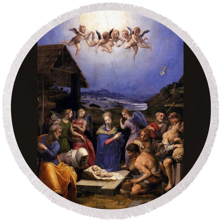 Bronzino Agnolo Round Beach Towel featuring the painting Bronzino Agnolo Painting by Munir Alawi