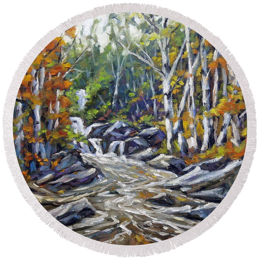 Oil Round Beach Towel featuring the painting Brook Traversing Wood by Richard T Pranke