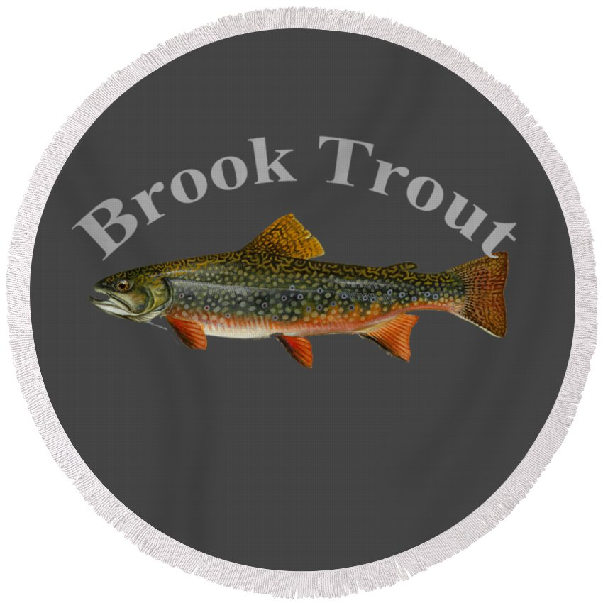 Brook Trout Round Beach Towel featuring the digital art Brook Trout by T Shirts R Us -