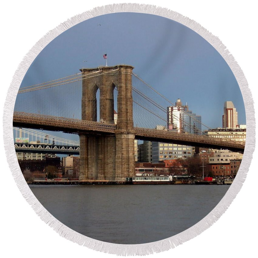 Brooklyn Bridge Round Beach Towel featuring the photograph Brooklyn Bridge by Anita Burgermeister
