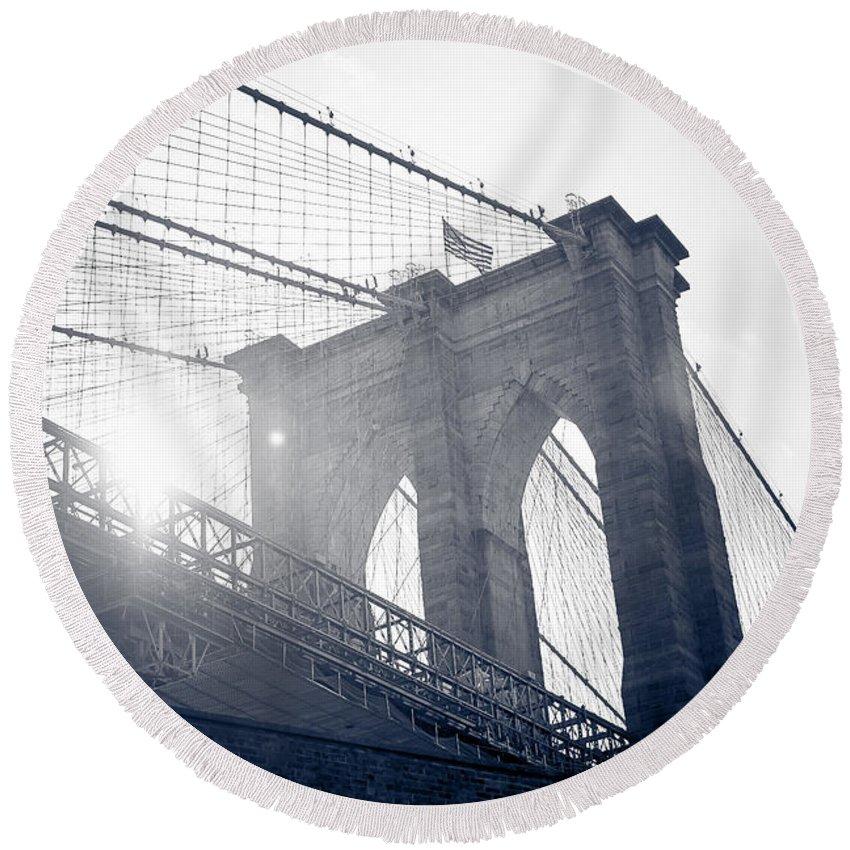 Brooklyn Round Beach Towel featuring the photograph Brooklyn Bridge by Anna Serebryanik