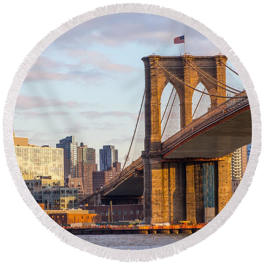 America Round Beach Towel featuring the photograph Brooklyn Bridge At Sunset by SR Green