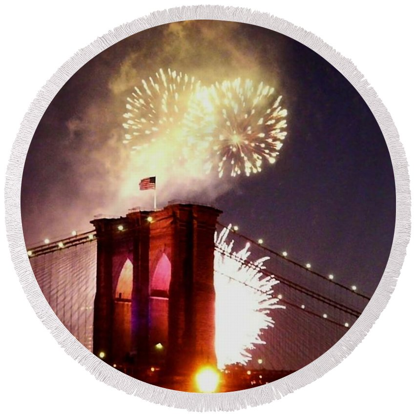 Brooklyn-bridge Round Beach Towel featuring the photograph Brooklyn Bridge Celebration by Kendall Eutemey