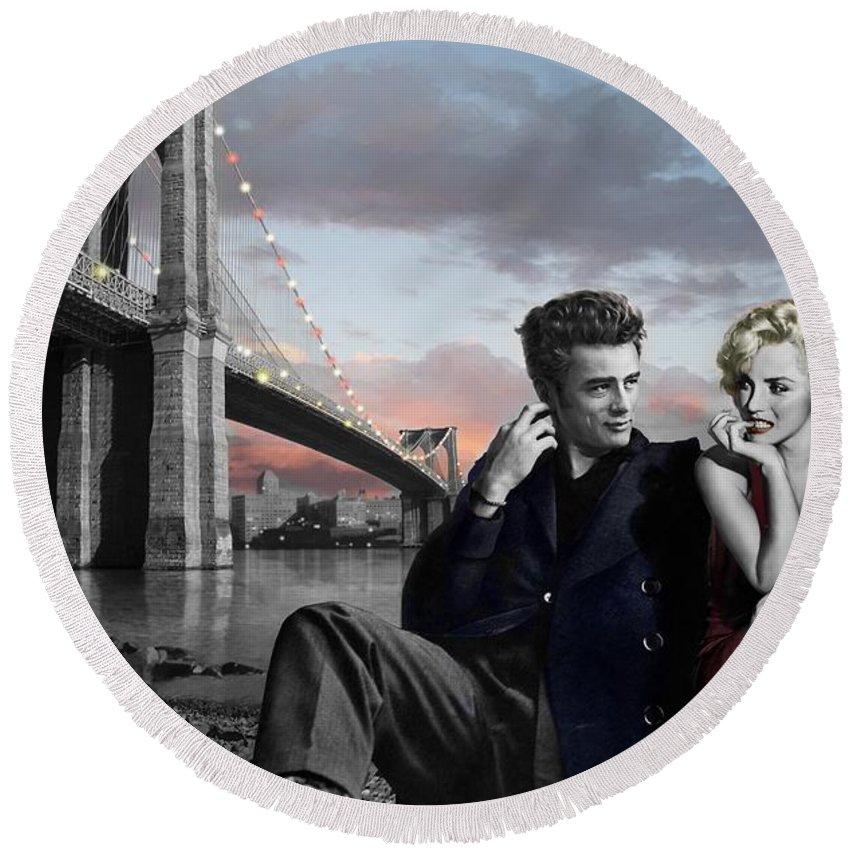 Marilyn Monroe Round Beach Towel featuring the painting Brooklyn Bridge by Chris Consani