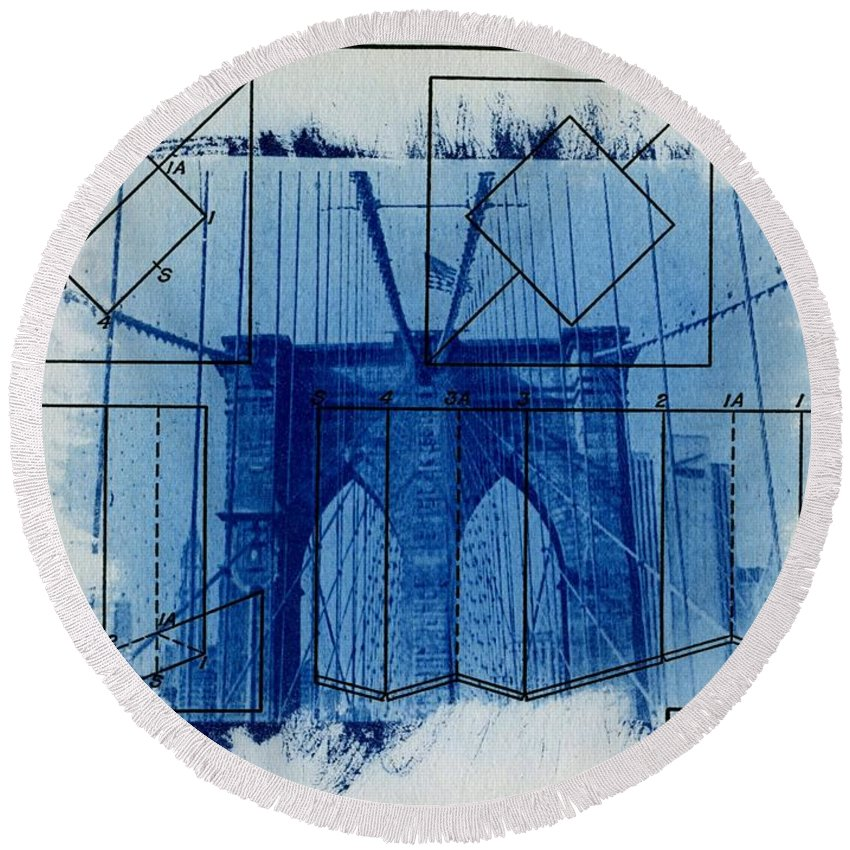 Brooklyn Bridge Round Beach Towel featuring the photograph Brooklyn Bridge by Jane Linders