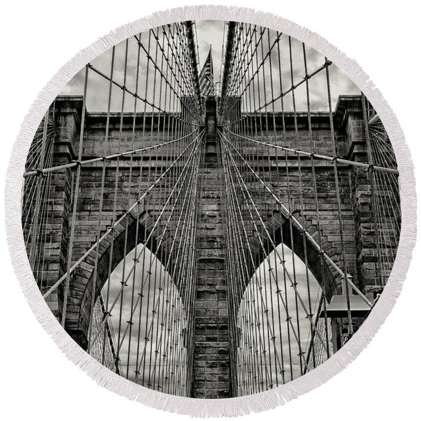 Brooklyn Bridge Round Beach Towel featuring the photograph Brooklyn Bridge by Stephen Stookey