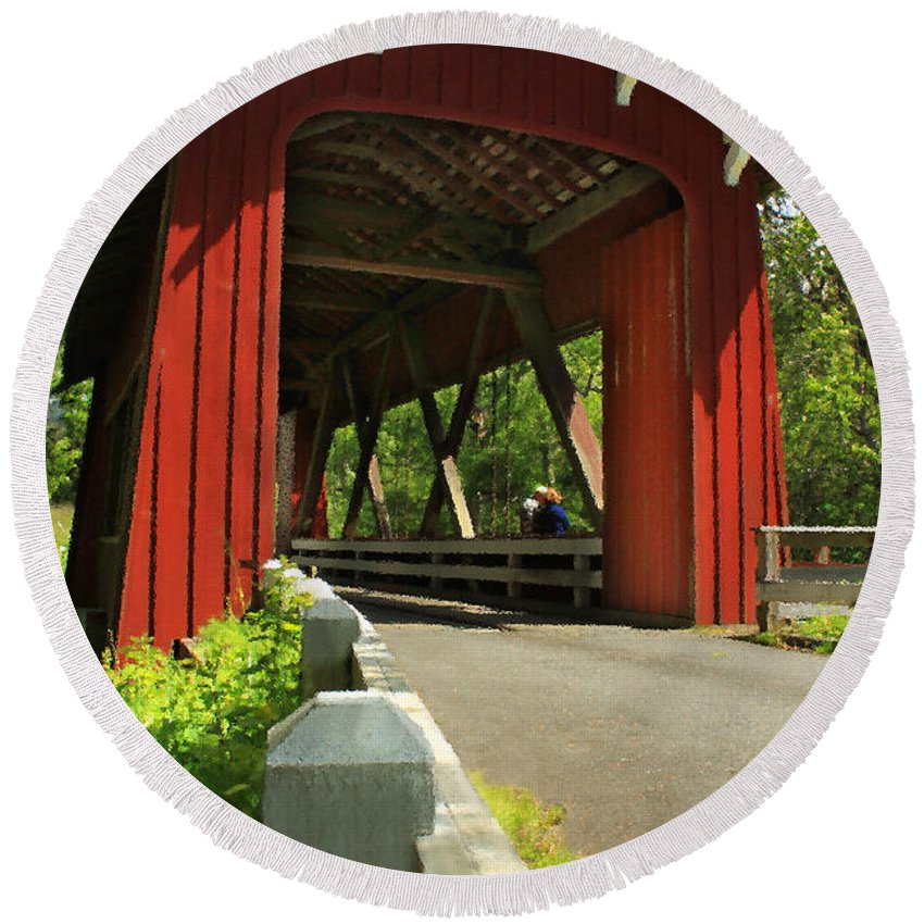 Covered Bridge Round Beach Towel featuring the photograph Brookwood Covered Bridge by James Eddy