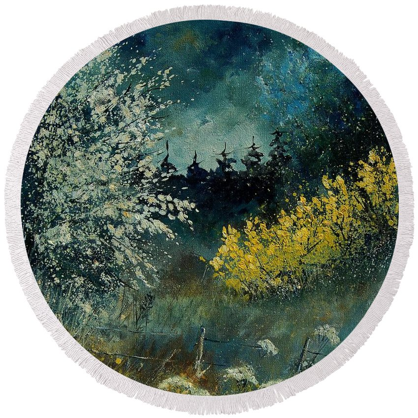 Spring Round Beach Towel featuring the painting Brooms Shrubs by Pol Ledent