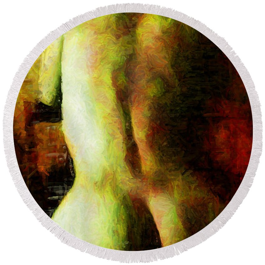 Woman Round Beach Towel featuring the digital art Brothel Seduction by Caito Junqueira