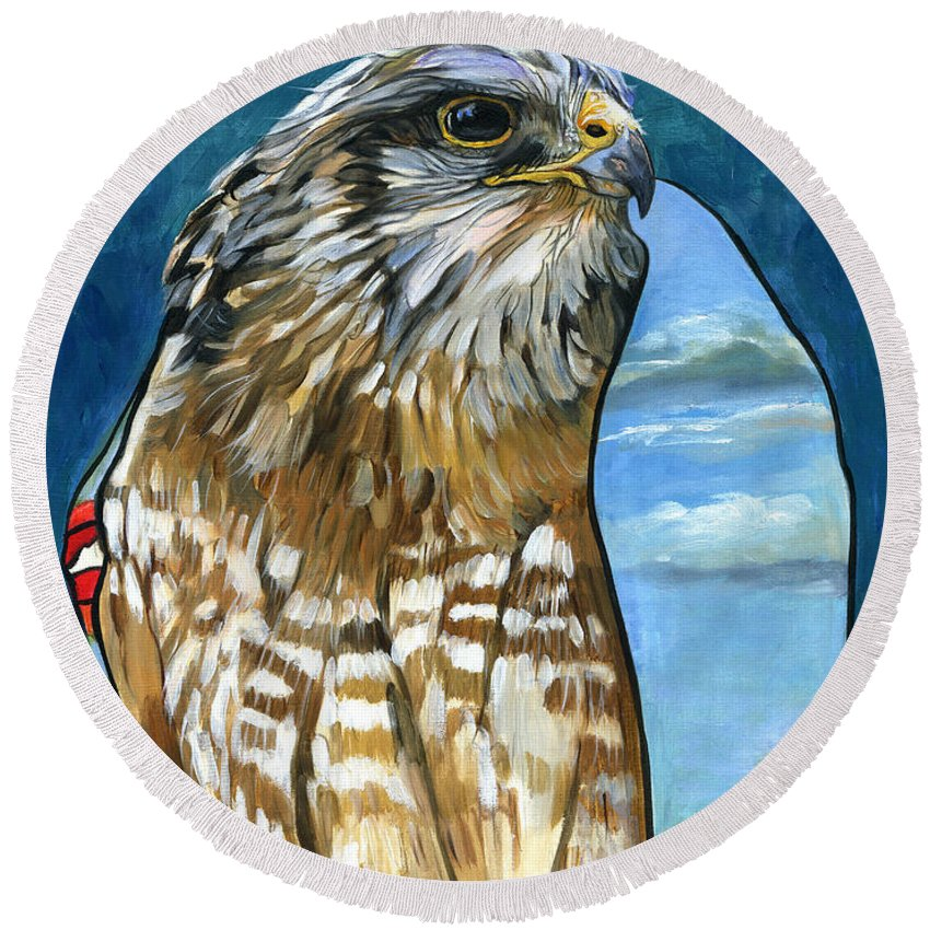 Hawk Round Beach Towel featuring the painting Brother Hawk by J W Baker