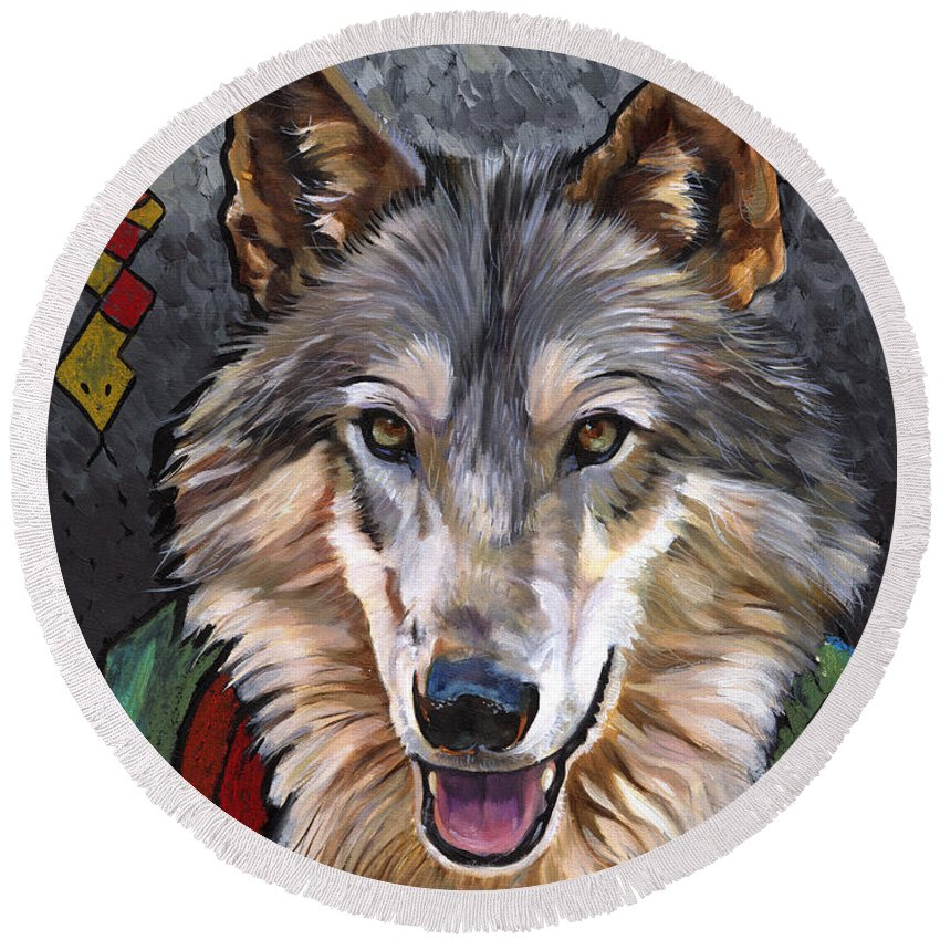 Wolf Round Beach Towel featuring the painting Brother Wolf by J W Baker