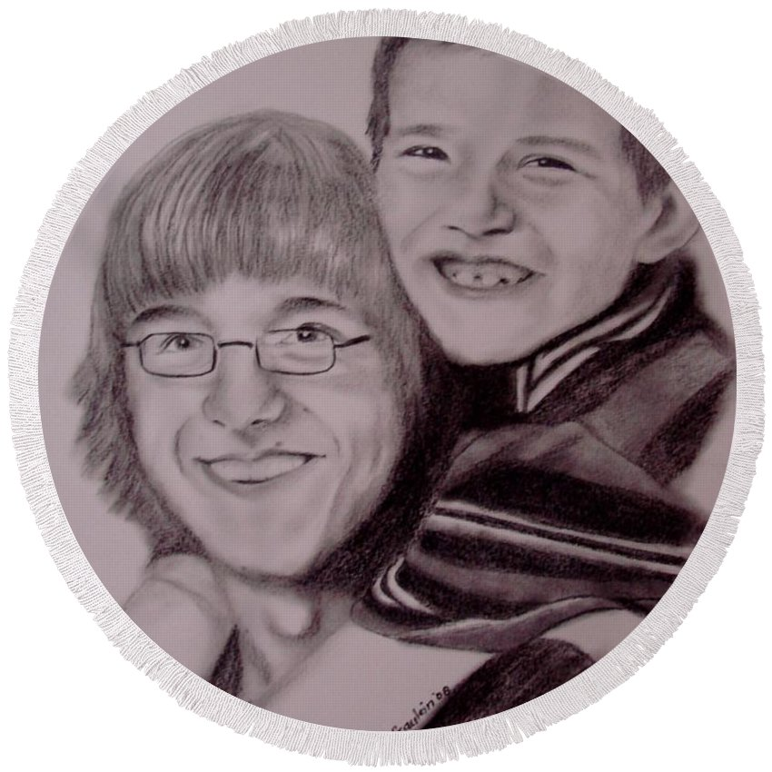 Portrait Round Beach Towel featuring the drawing Brothers For Life by Glory Fraulein Wolfe